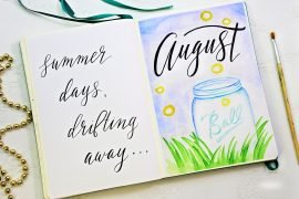Bullet Journal cover page for August
