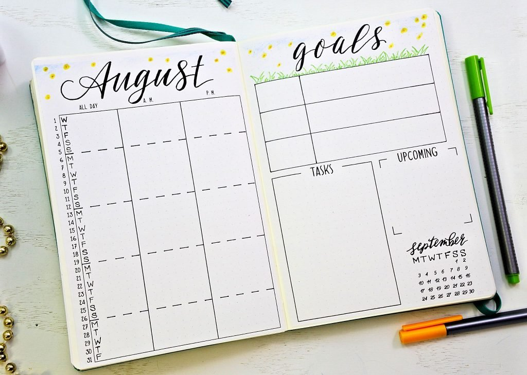 photo regarding Bullet Journal Calendar Printable named Cost-free Bullet Magazine Printables for August ⋆ Sheena of the