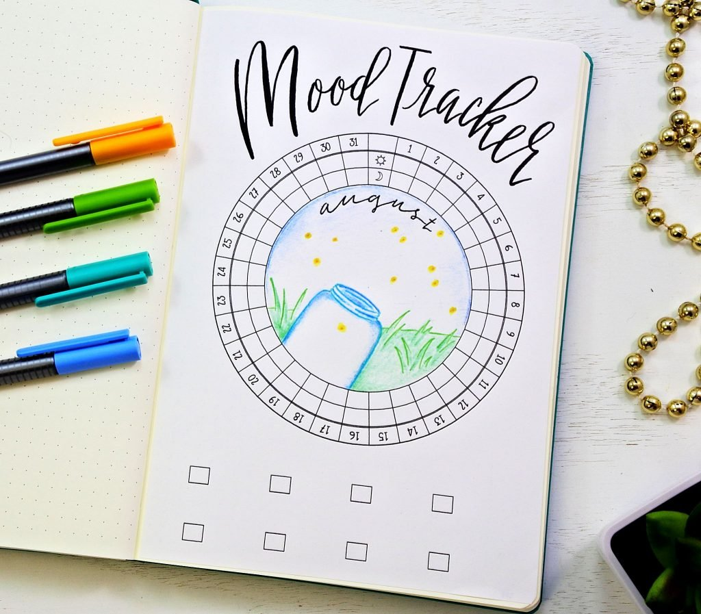 Bullet journal fireflies mood tracker