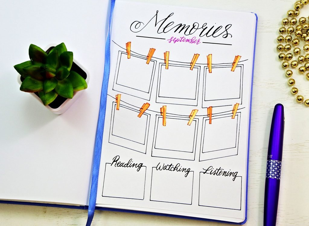 Printable memories page for your bullet journal!