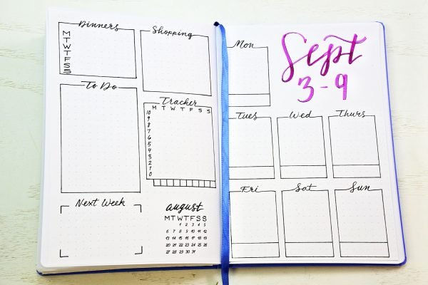 Printable weekly spreads for your bullet journal!