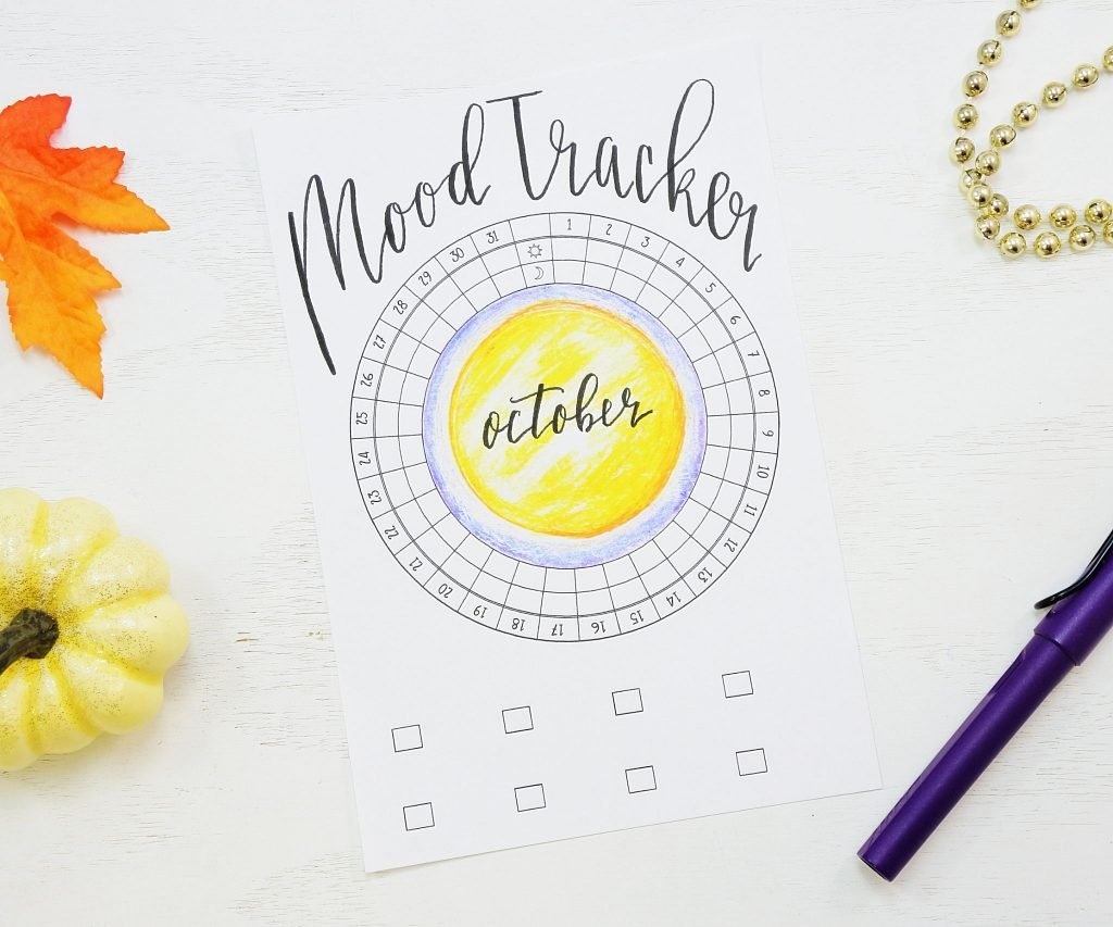 Printable bullet journal circular mood tracker!