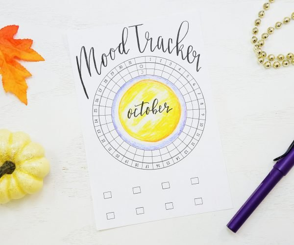Printable bullet journal circular mood tracker!