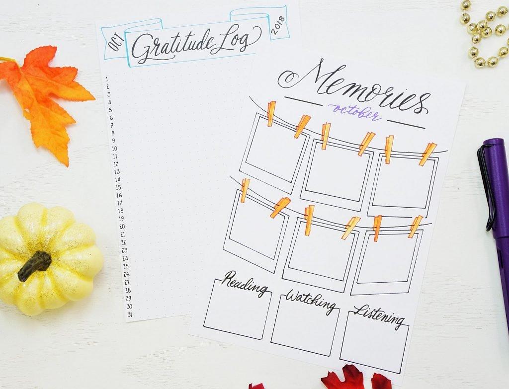 Printable gratitude log and memories page!