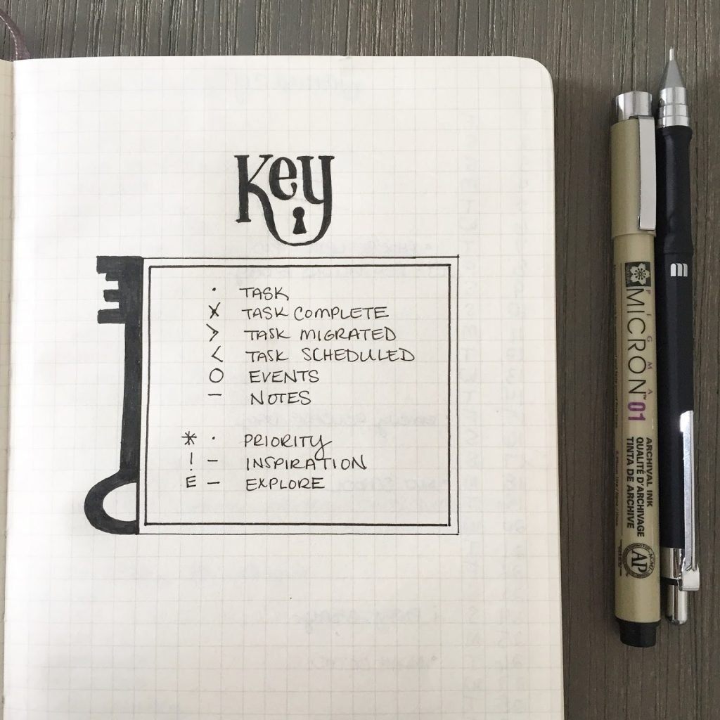 Beutiful minimilist bullet journal key page