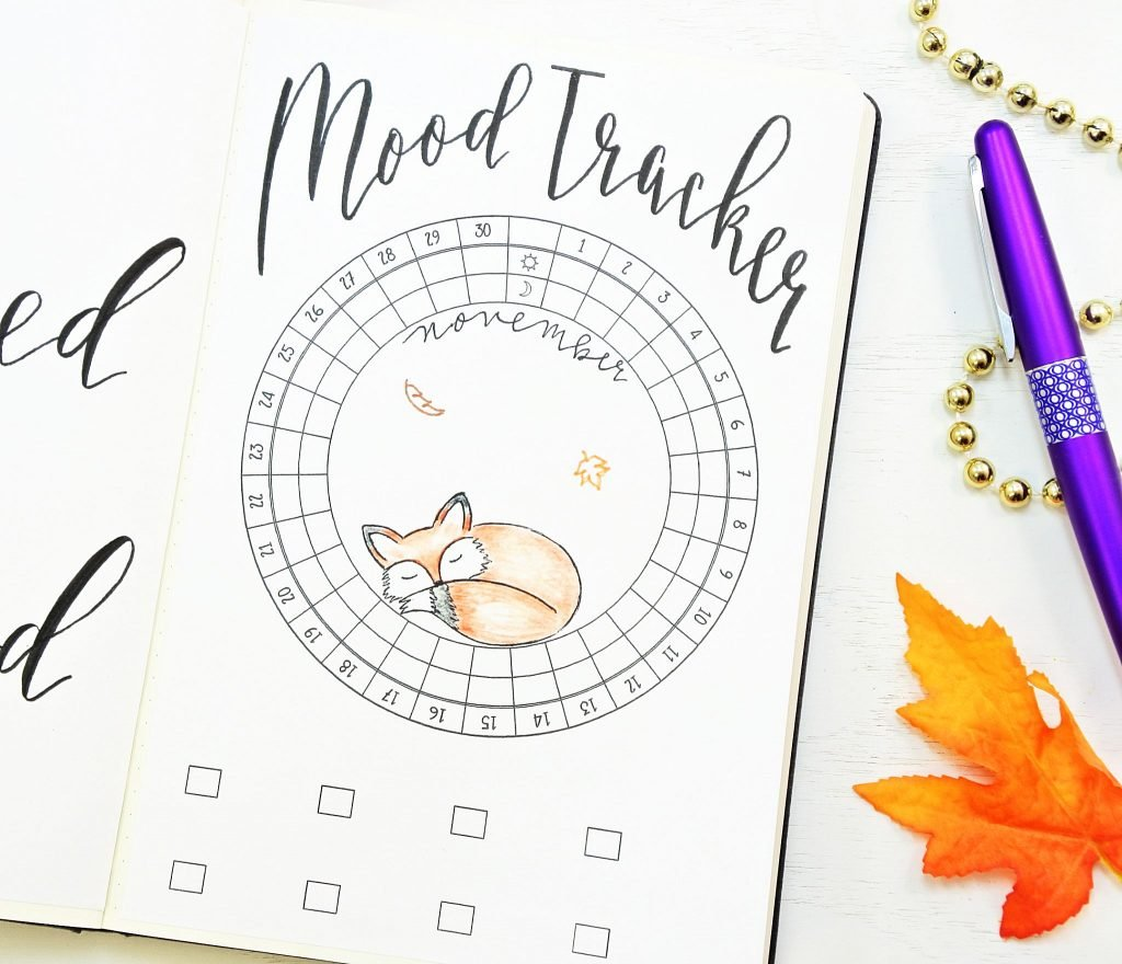 Novmber bullet journal setup. Fox mood tracker!