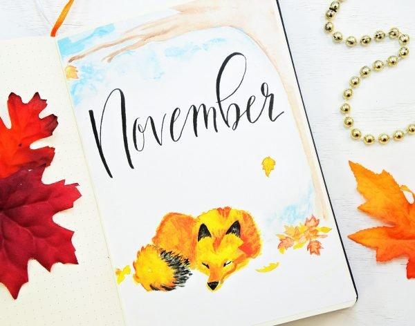 November bullet journal setup. Fox bullet journal