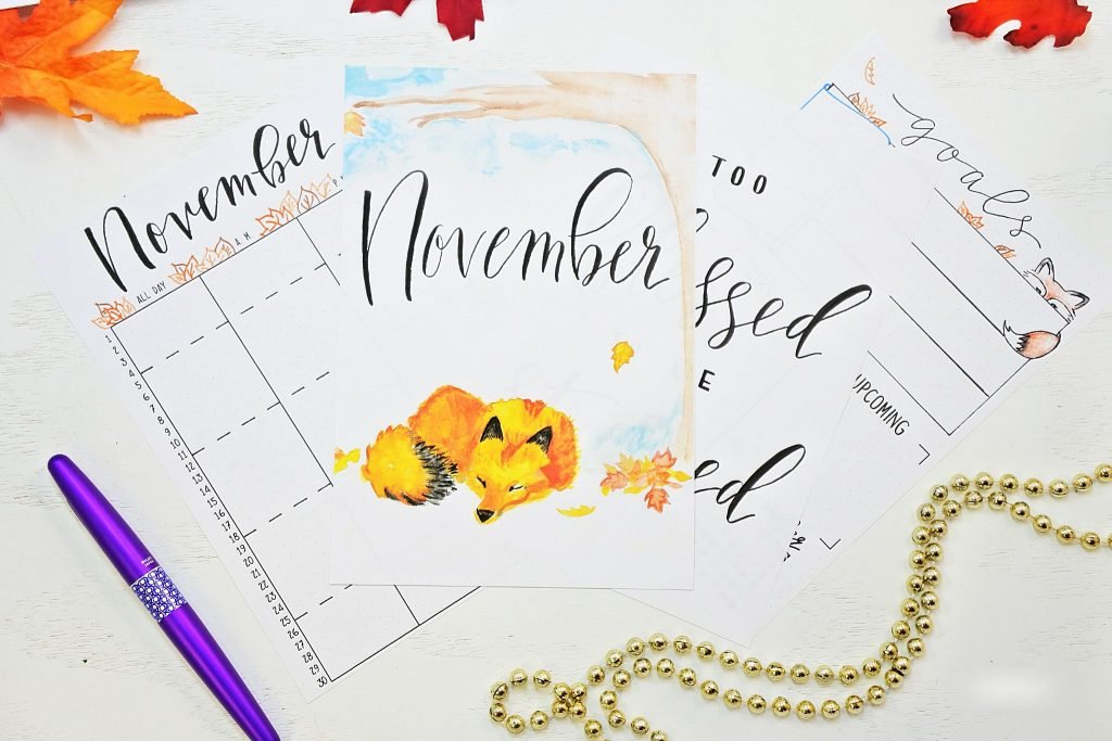 november bullet journal setup free printables!