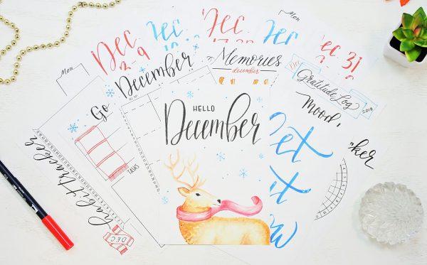 printable December bullet journal setup