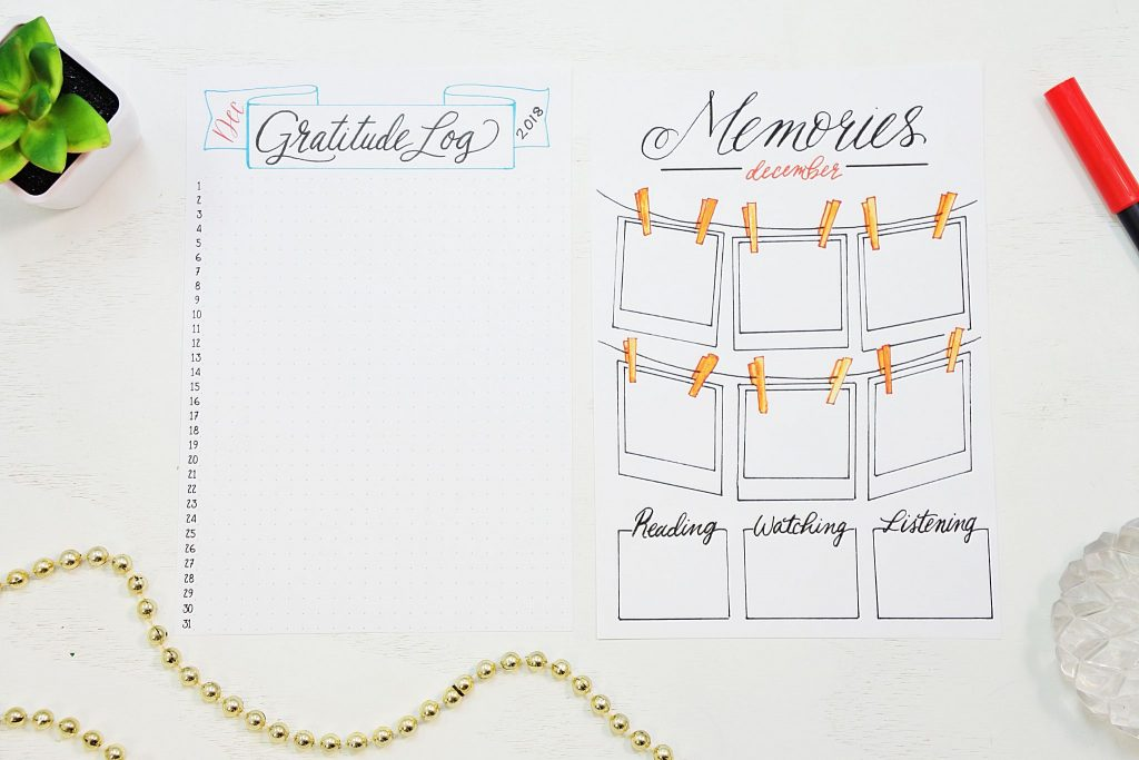 gratitude log and memories page