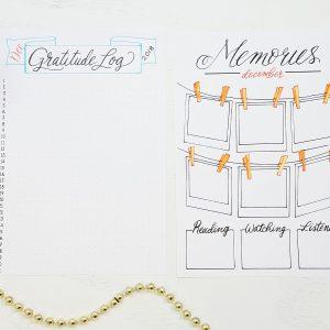 gratitude log and memories page