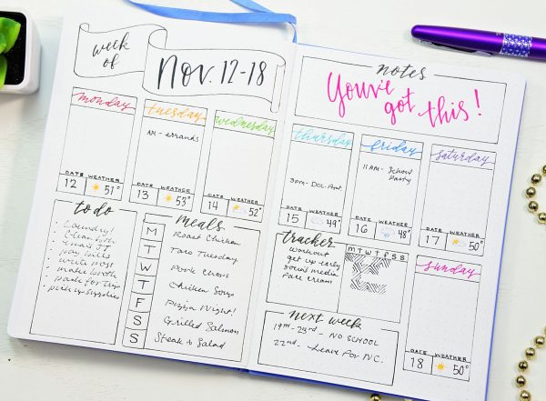 printable weekly spread