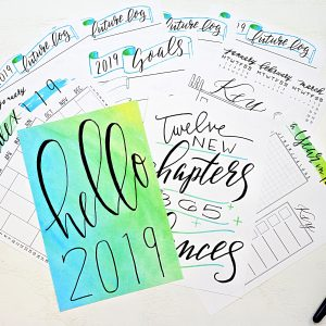 Printable bullet journal setup for 2019