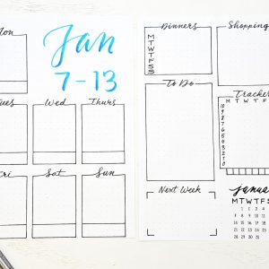 printable bullet journal setup January weekly spreads