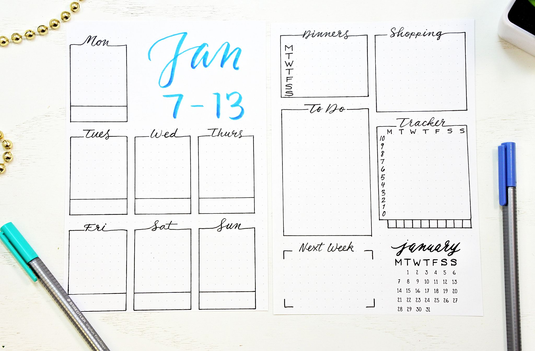 This is a picture of Sassy Bullet Journal Weekly Spread Printable