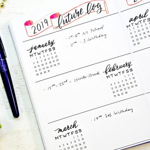 Bullet journal starter kit planner printables. Printable future log.