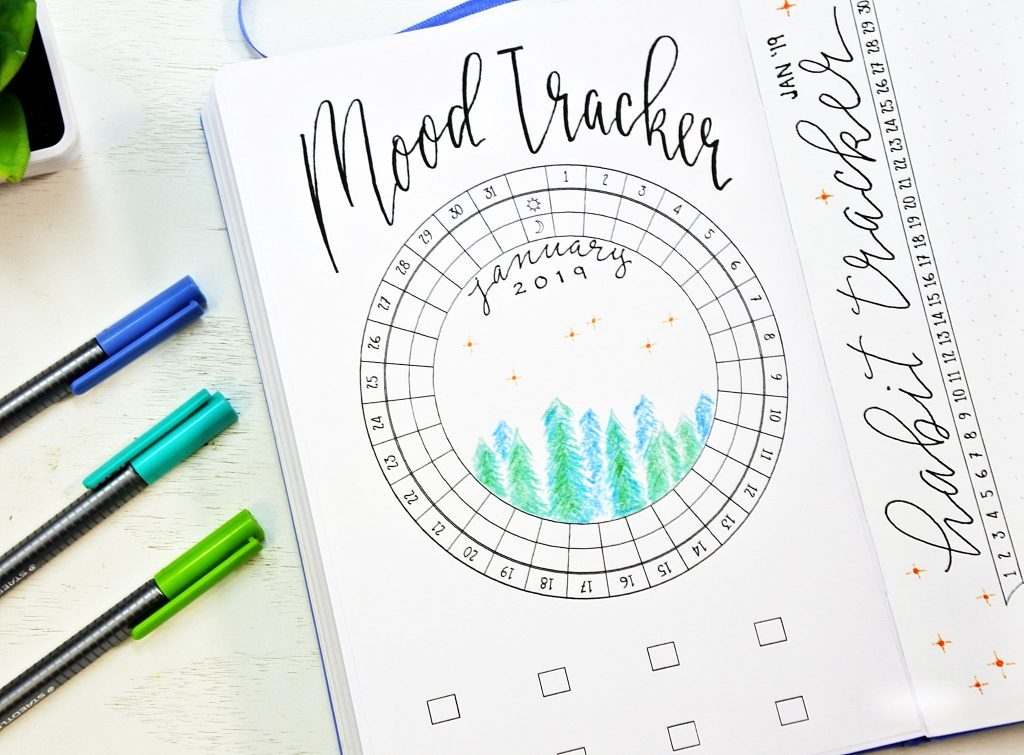 january 2019 bullet journal mood tracker printable