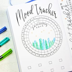January bullet journal setup printable mood tracker