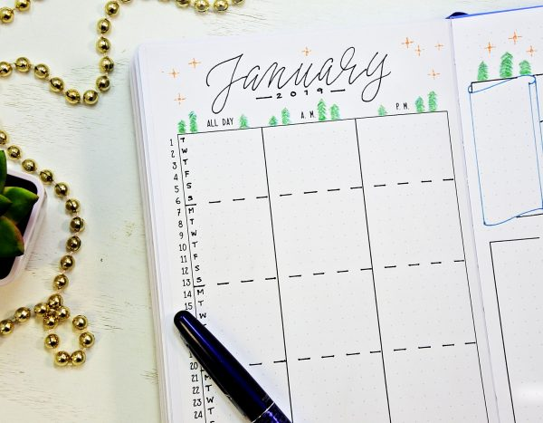 January bullet journal setup printable calendar