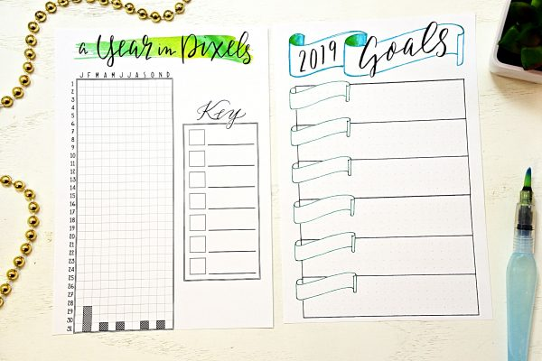 Printable year in pixels and goals worksheet