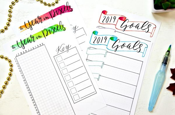 watercolor printable bullet journal starter kit setup