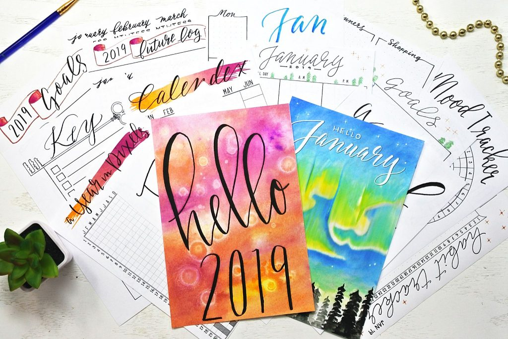 monthly and yearly january 2019 bullet journal printables