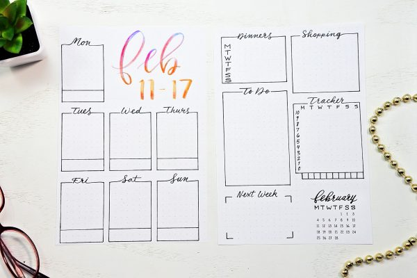 Printable bullet journal weekly spread for February.