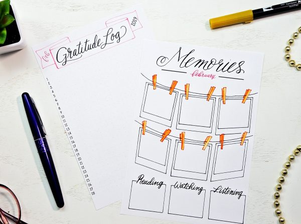 Printable Gratitude Log and Memories page for February bullet journal setup.