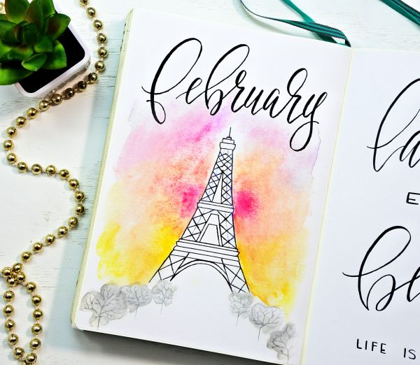 Eiffel tower February bullet journal cover page.