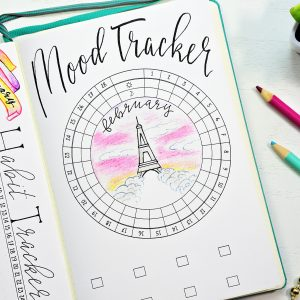 Printable bullet journal circular mood tracker for February.