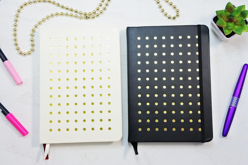 Black, white and gold dot grid notebooks.