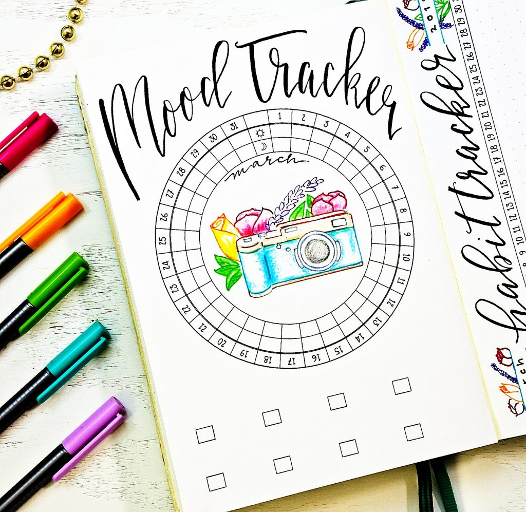 Printable mood tracker for a bullet journal.