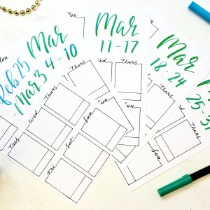 Printable weekly spreads for March 2019 Bullet Journal.