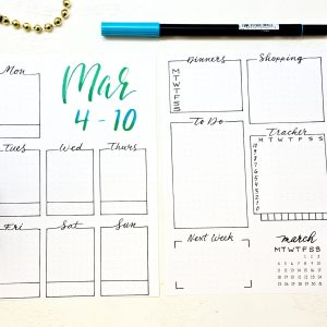Printable March weekly spread.