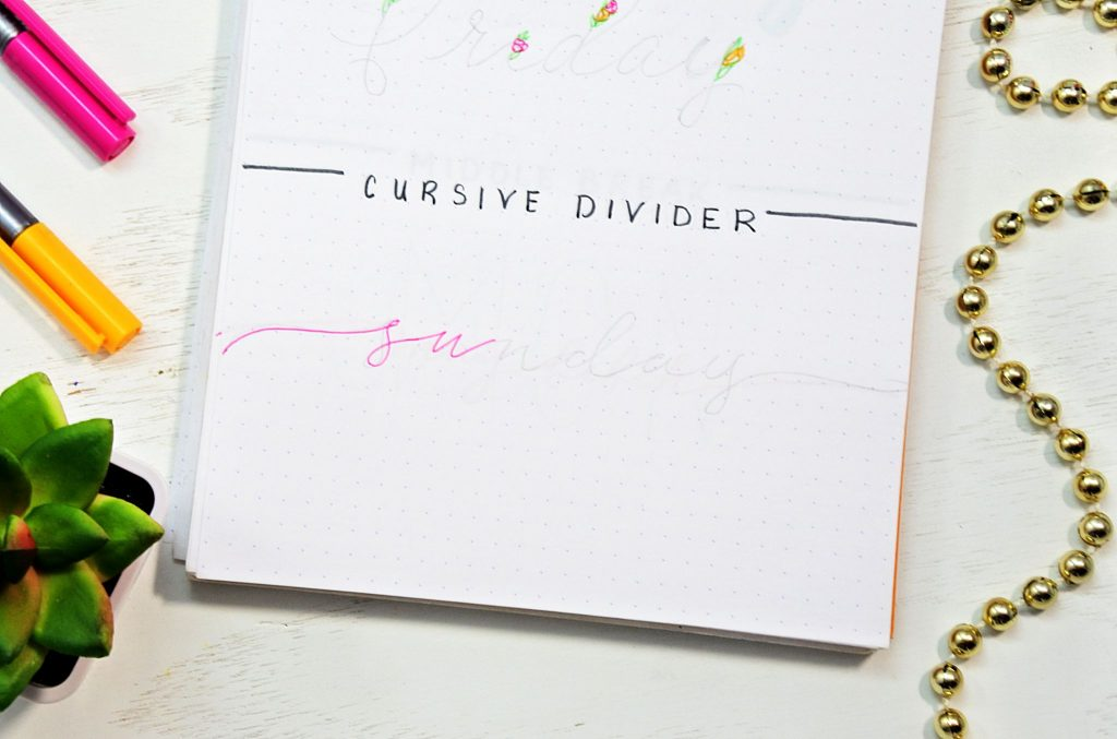 How to draw the cursive divider bullet journal font.