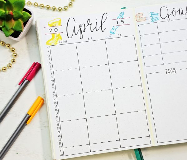 Bullet journal calendar for April.