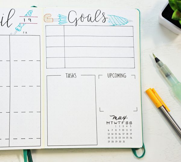 April Goals page in a bullet journal