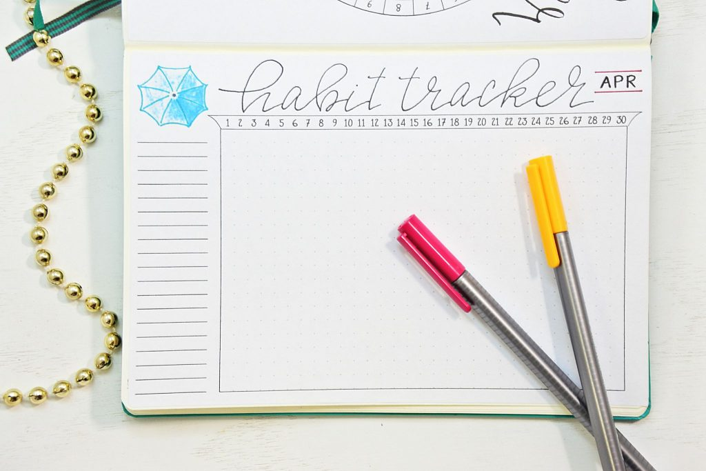 April 2019 Bullet Journal habit trackerr