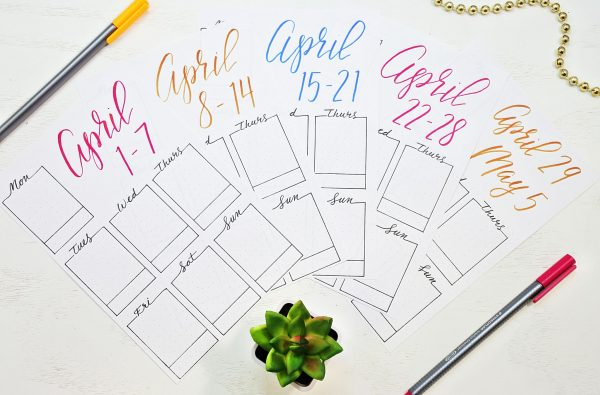 Printable weekly spreads for April 2019