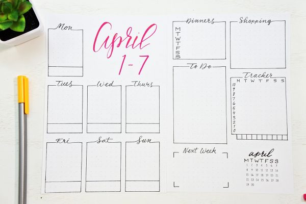 Printable weekly spread for April 2019.