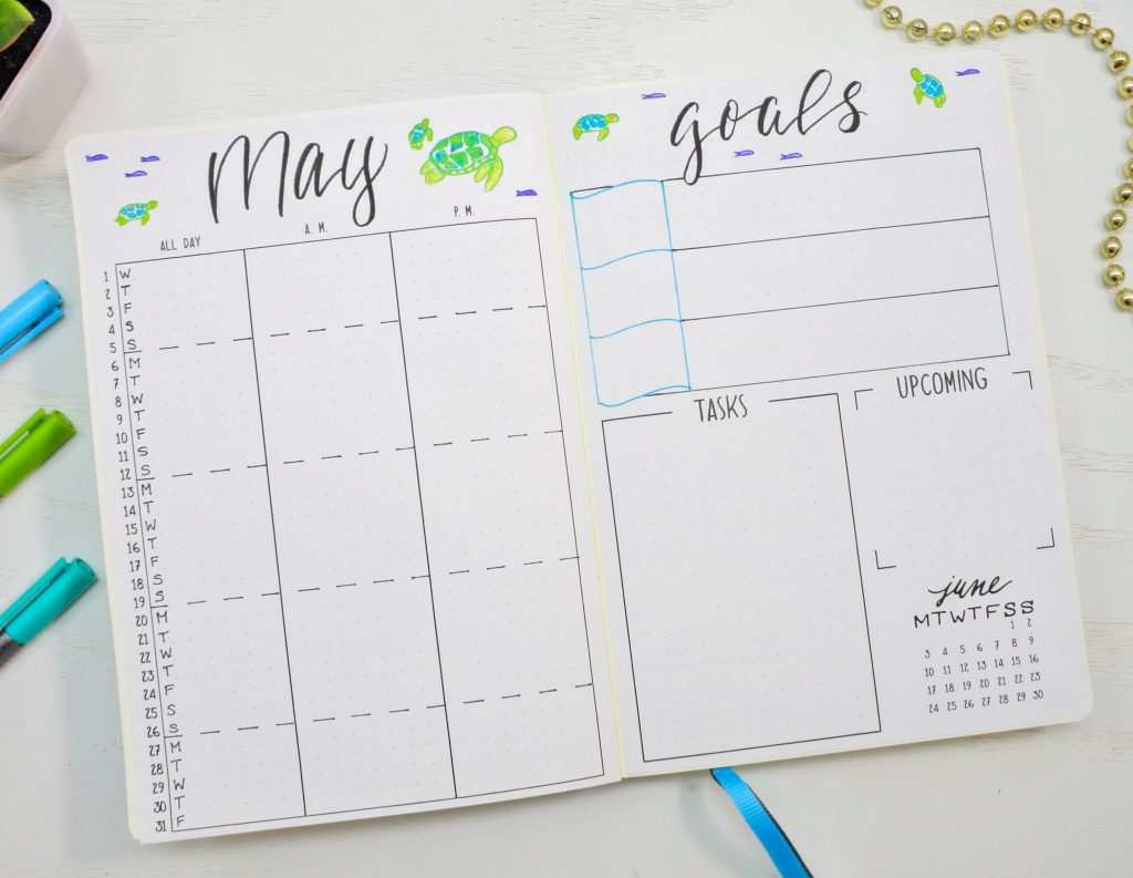 Monthly spread for may bullet journal