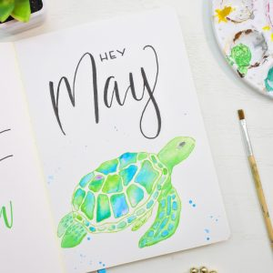 May bullet journal cover page sea turtle theme