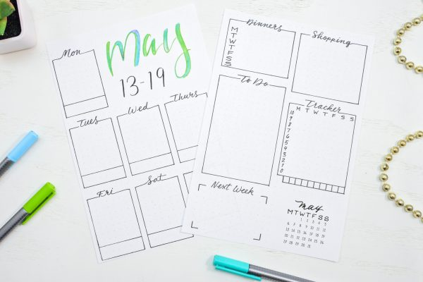 Printable weekly spread for may