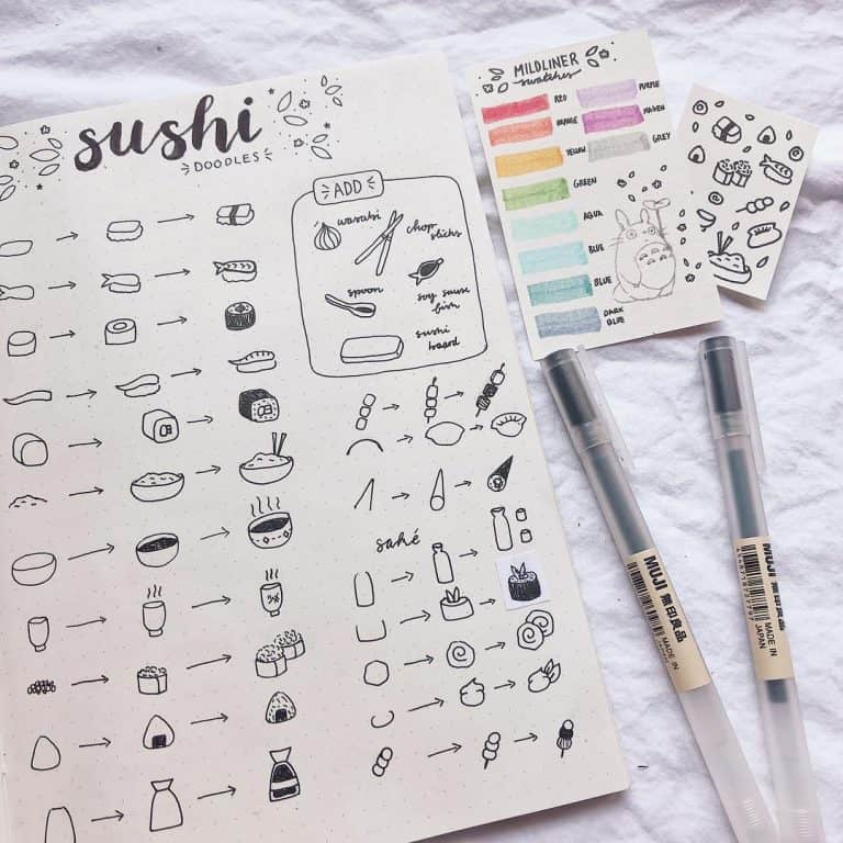 cute doodles how to draw sushi bullet journal doodles