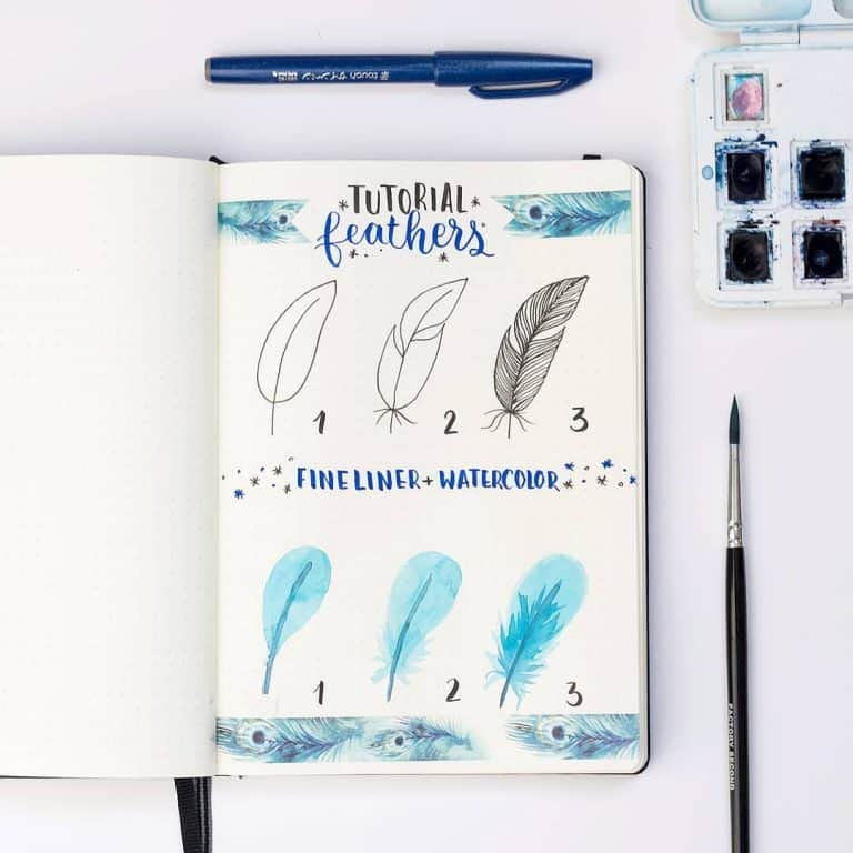 How to draw feathers bullet journal doodles