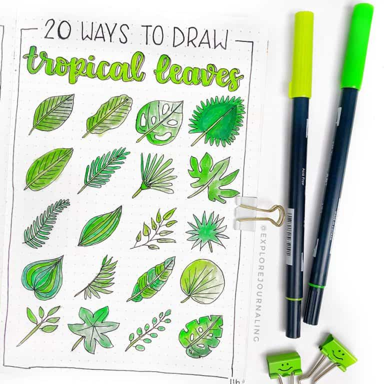 bullet journal doodles how to draw leaves