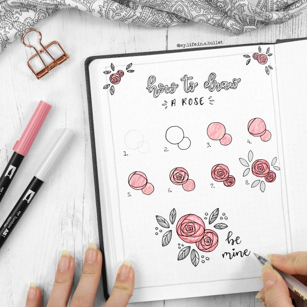 How to draw roses in a bullet journal.