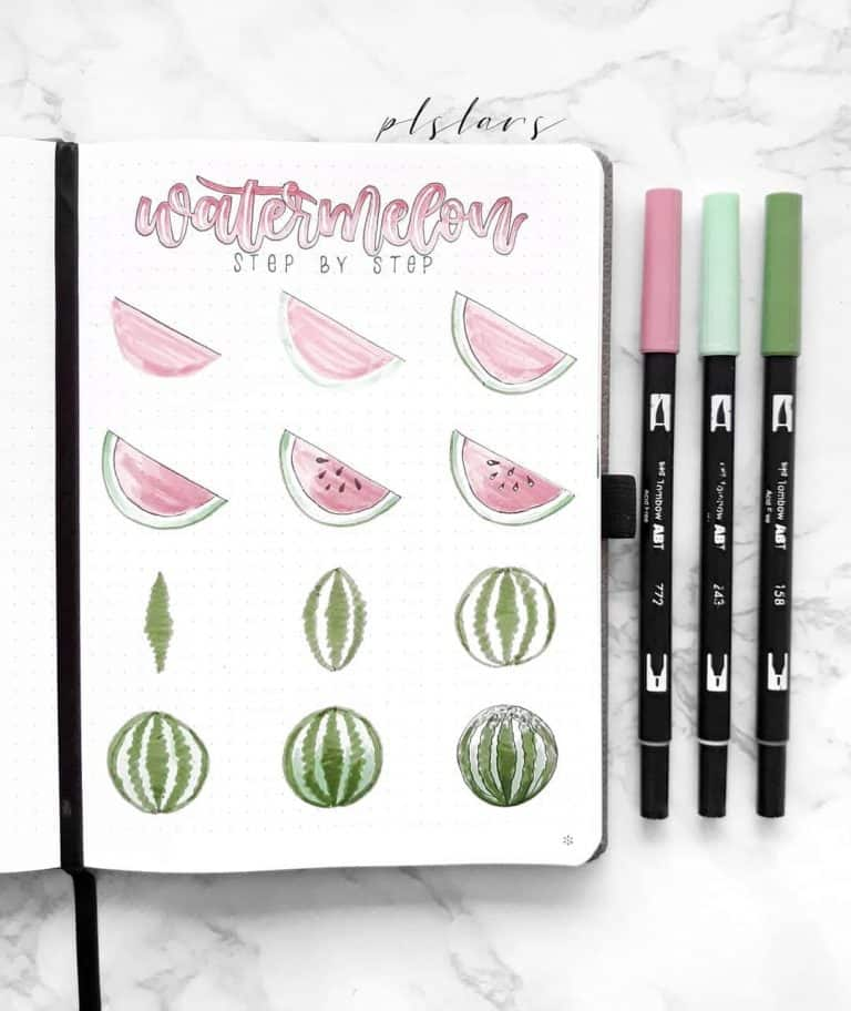 bullet journal doodles how to draw a watermelon summer doodles