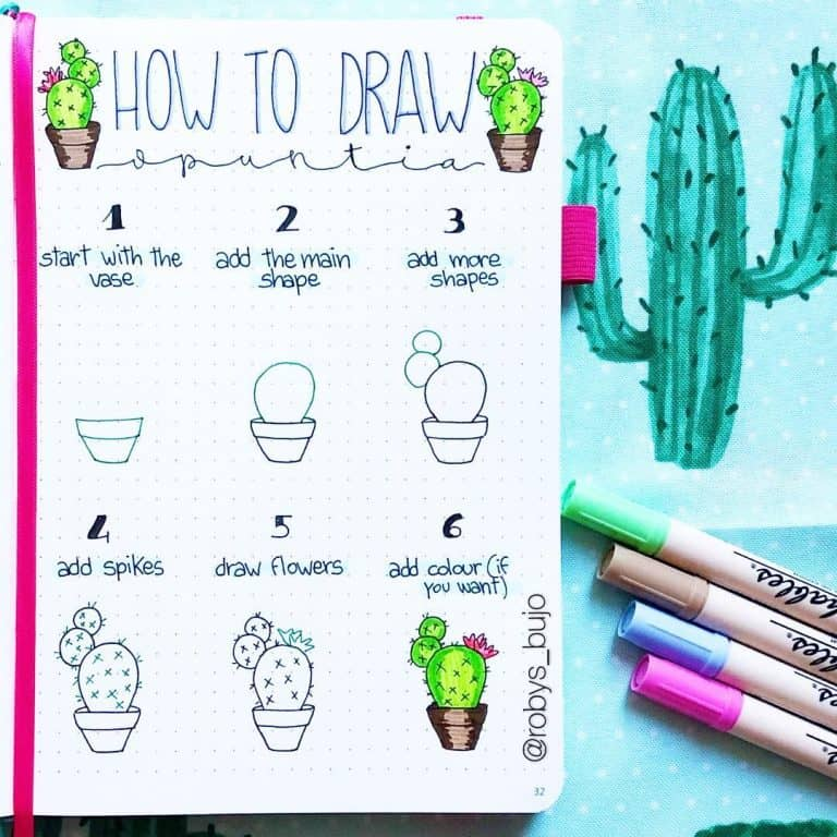 How to draw a cactus cute bullet journal doodles