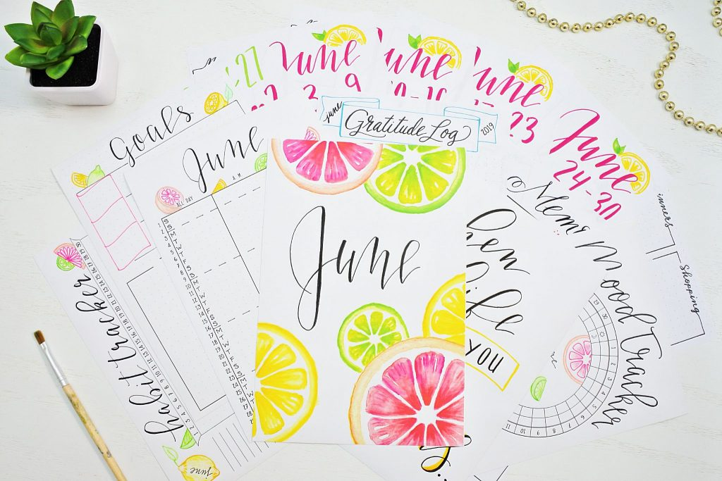 18 printables for june bullet journal